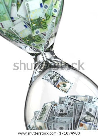 Stock exchange. Hourglass, dollar and euro. 3d - stock photo