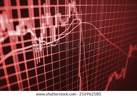 Stock exchange loss during financial crisis. Red color down chart move trend.  Stock market graph and bar chart price display computer monitor. Abstract financial background MORE SIMILAR IN MY GALLERY - stock photo