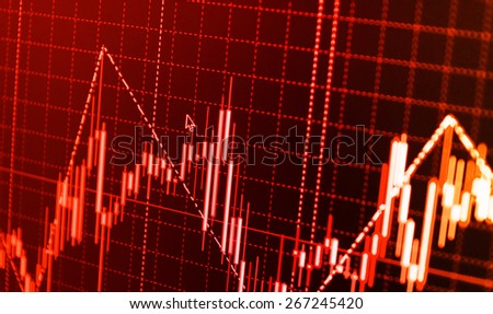 Stock exchange loss red screen. Symbol of recession, falling prices, failure. Stock chart graph on monitor screen display of trader computer. Shallow depth of field effect.  - stock photo