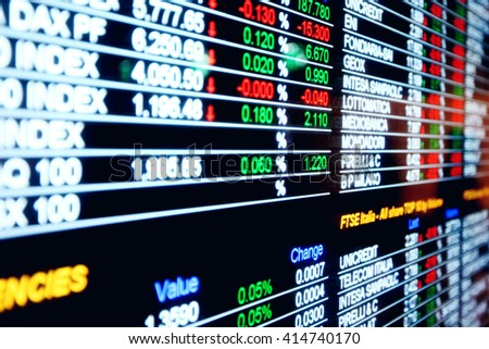 Stock exchange market business concept with selective focus effect - stock photo