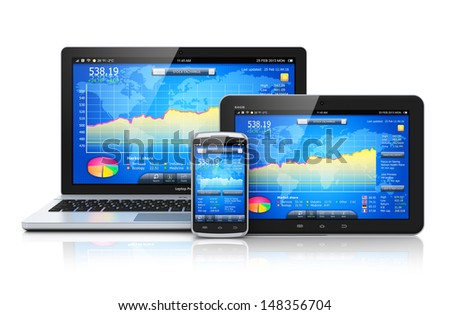 Stock exchange market trading, banking and financial business accounting concept: laptop notebook, tablet computer PC and touchscreen smartphone with stock exchange application isolated on white - stock photo