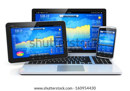 Stock exchange market trading banking and financial business accounting concept: laptop notebook, tablet computer PC and touchscreen smartphone with stock market application software isolated on white - stock photo