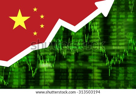 Stock exchange shares up green screen with flag of China. Arrow graph going up stock data diagram ideas concept design - stock photo