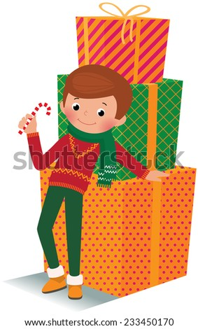 Stock illustration boy and a lot of Christmas gifts on a white background/Boy with christmas gift/A boy in full length and Christmas gifts - stock photo