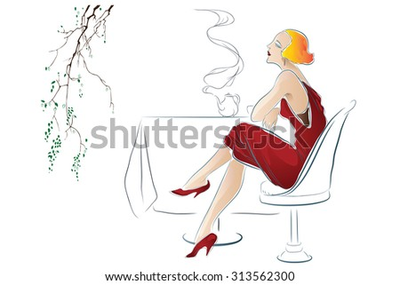 Stock illustration. Girl drinks tea at a cafe table - stock photo