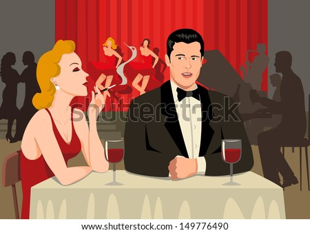 Stock illustration of a couples at the restaurant - stock photo