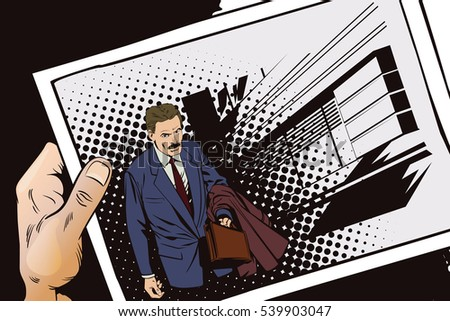 Stock illustration. People in retro style pop art and vintage advertising. Time to make money. Businessman goes to work. Hand with photo.