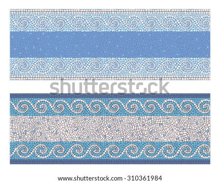 Stock illustration seamless mosaic border in antique style/Seamless mosaic border in antique style/Stock illustration - stock photo