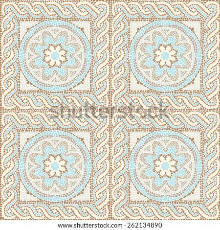 Stock illustration seamless pattern antique mosaic/Seamless texture multicolored mosaics/Stock illustration seamless pattern in antique style - stock photo