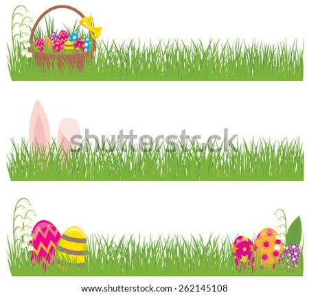 Stock illustration Set of Easter banners grass and Easter eggs/Set of Easter banners grass and Easter eggs/Stock cartoon illustration - stock photo