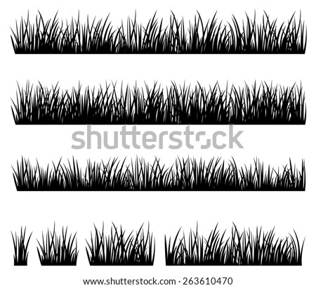 Stock illustration Set of silhouette of grass isolated on white background/Set of silhouette of grass isolated on white background/Stock illustration