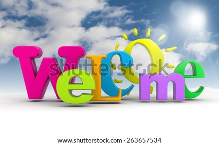 Stock illustration welcome word with the sun on the sky.