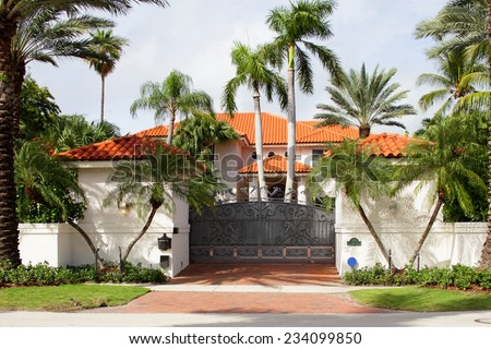 Stock image of a gated mansion in Miami Beach - stock photo