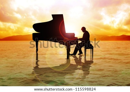 Stock image of a man silhouette playing piano on water - stock photo