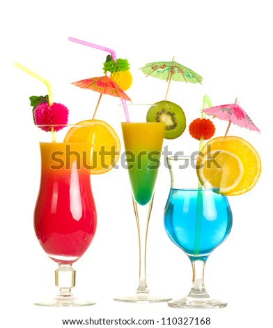Stock image of alcohol cocktails over white background - stock photo