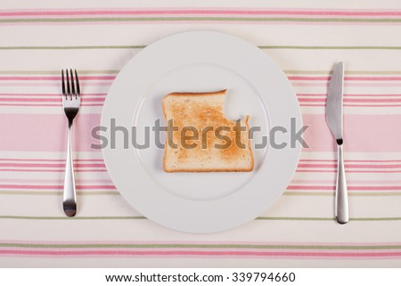 stock image of bitten toast on white plate. diet concept - stock photo