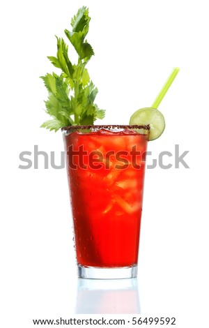 Stock image of Bloody Mary over white background. Find more cocktail and prepared drinks images on my portfolio.