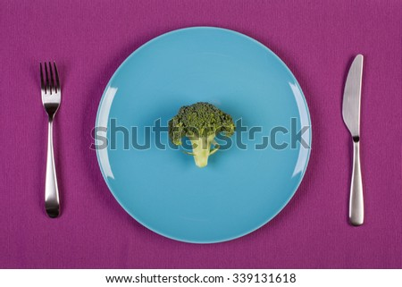 stock image of broccoli on blue plate. diet concept - stock photo