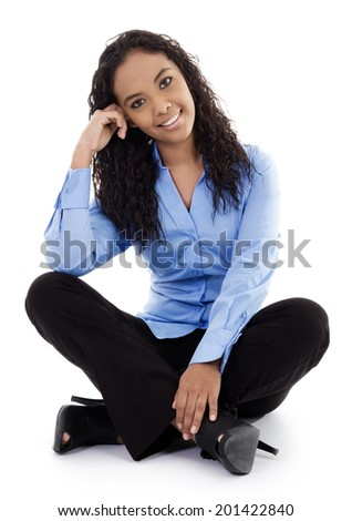 Stock image of casual young businesswoman isolated on white background