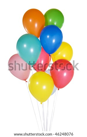 Stock image of color balloons floating. Isolated on white.