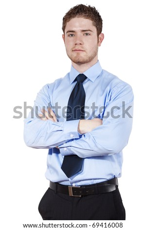 Stock image of confident businessman standing over white background