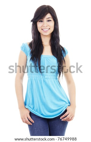 Stock image of confident casual woman, isolated on white background - stock photo