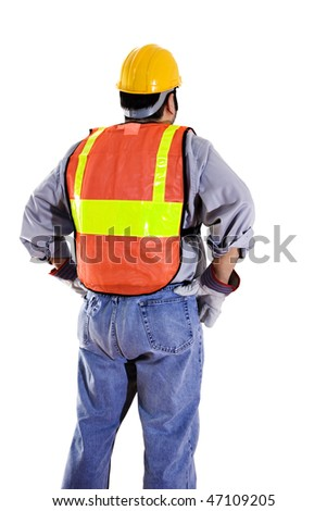 Stock image of construction worker wearing protective gear isolated on white