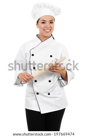 Stock image of female chef or baker isolated on white background - stock photo
