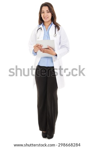 Stock image of female doctor, wearing lab coat, isolated on white