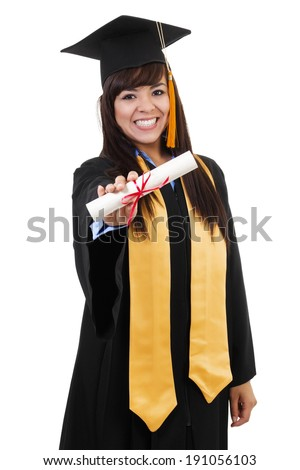 Stock image of female graduate isolated on white background