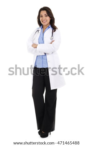 Stock image of female health care worker isolated on white background