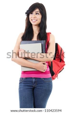 Stock image of female student isolated on white background - stock photo