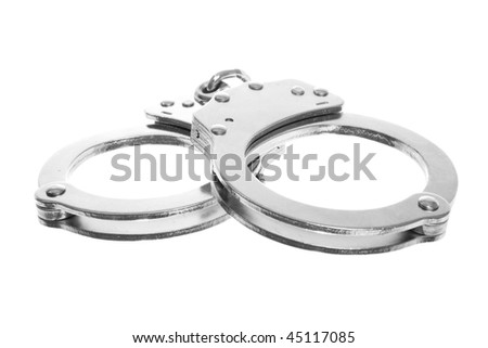 Stock image of handcuffs isolated on white - stock photo
