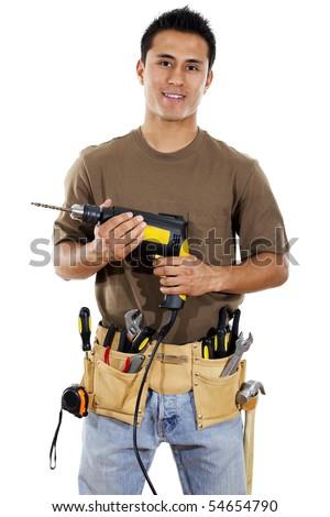 Stock image of handyman over white background - stock photo