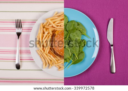 stock image of low fat healthy spinach leaves against unhealthy greasy burger with french fries. diet concept - stock photo
