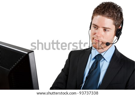 Stock image of male call center operator isolated on white background