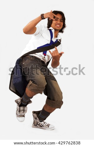 Stock image of male student over white backgrounds - stock photo