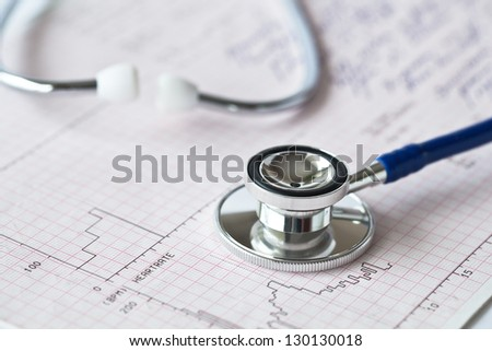 Stock image of stethoscope put on an electrocardiogram sheet. This medical objects are shooted after basic cardiology exams.  - stock photo