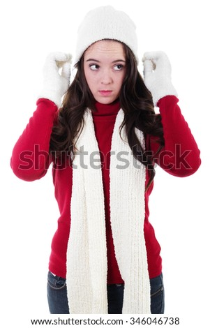 Stock image of teen dressing warm for winter, isolated on white - stock photo