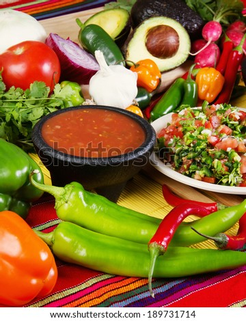 Stock image of traditional mexican food salsas and ingredients - stock photo