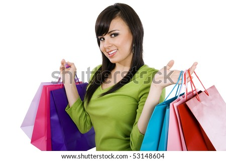 Stock image of woman carrying shopping bags, over white background