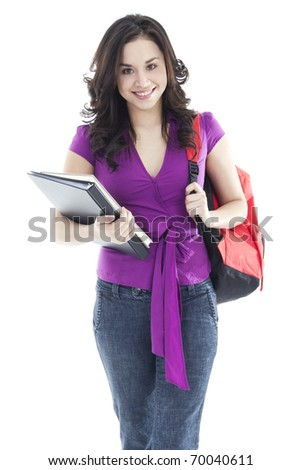 Stock image of young female student isolated on white background - stock photo