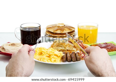 Stock image Point of view of man about to eat a hearty breakfast