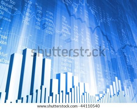 Stock Indicators and Bar Charts - stock photo