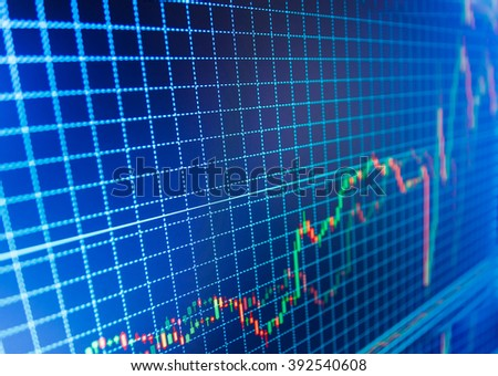 Stock market and other finance themes. Background stock chart. Stock trade live. Stock market quotes on display. Data on live computer screen. Stock market graph on the screen.   - stock photo