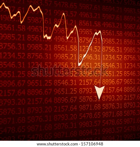 Stock Market - Arrow Graph Going Down on red Display - stock photo