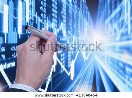 stock market background - stock photo
