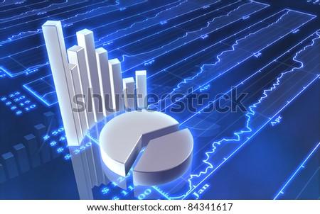 Stock market bars - stock photo