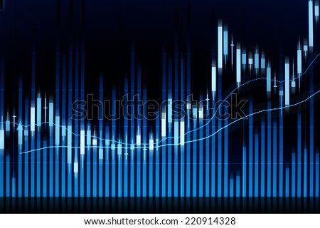 Stock market candle graph analysis on the screen. - stock photo