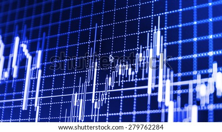 Stock market chart, graph on blue background. New modern computer and business strategy as concept. Financial diagram with candlestick chart used in market analysis for variation report of share price - stock photo